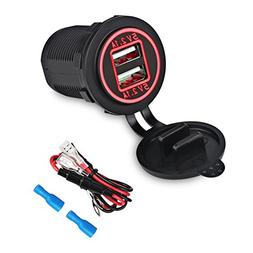 WATERWICH 5V 2.1A 2.1A Dual USB Marine Charger Car Adapter S