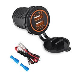 WATERWICH 5V 3.1A Marine Dual USB Charger Car Adapter Socket