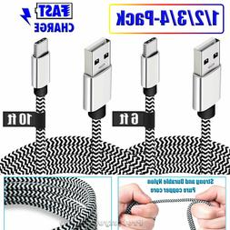 6/10ft Nylon Braided USB-C 3.1 Type-C Data Sync FAST Charger
