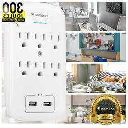 6 Outlet 300J Surge Protector USB Wall Tap Charger Adapter A