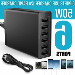 6 Port Home Wall Travel USB Charger Rapid Charging Hub Power