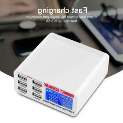 6 Port USB Charger Station LCD Display Auto Detect For Cellp
