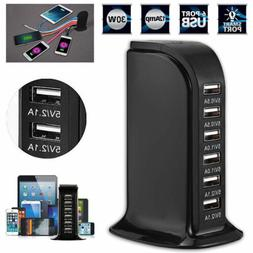 6 Port USB Home Travel Wall AC Charger Fast Charge Power Str