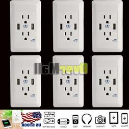 6 x Dual USB Port Wall Socket Charger AC Power Receptacle Ou