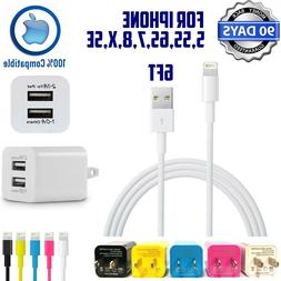 6ft 8-pin cable + Double USB 2.1A Cube Wall Charger for ipho