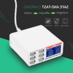 6Port LCD Auto Detect USB Charger Station Dock Smart Fast Ch