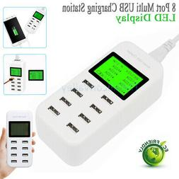 8 Ports Smart Multi USB AC Wall Charger Hub LCD Display Fast