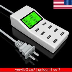 8 Multi-Port USB Adapter Desktop Wall Charger Smart LCD Disp