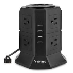 Lanshion 8 Outlet Surge Protector Power Strip with 4 USB Cha