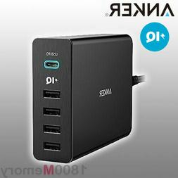 Anker Japan 60W 5-Port USB USB-C Charger Travel Power Adapte