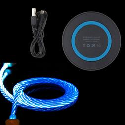 LED QI Wireless Charger Pad + USB-C Cable for Samsung Galaxy