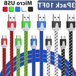 LOT 10FT Braided Micro USB Data Sync Charger Cable Cord for