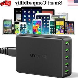 5-Port Multi【Smart Charging】Station USB Wall Charger Des