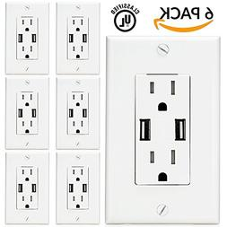 Sunco Lighting 6 PACK - UL Listed- High Speed USB Port Charg