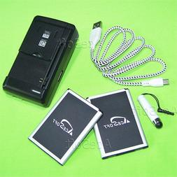 Accessory 2x 3520mAh Battery Wall Home Charger USB Cable for