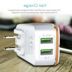 Aluminum 2-Port USB 5V 2.4A Wall Home Travel AC Fast Charger