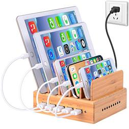 InkoTimes Bamboo Charging Station for Multiple Devices of Un