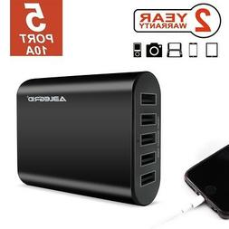 Black 5V 10A 5-Port USB Portable Home Travel Wall Charger US