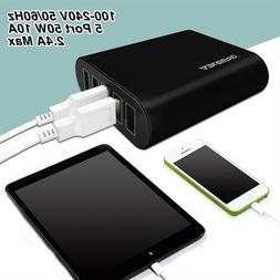 Black 5V10A 5-Port USB Charger Travel Desktop Intelligent De