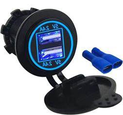 4.8 AMPS Blue-Fast Dual Waterproof USB Socket Charger for Bo