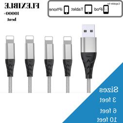 Braided USB Charger Cable 3 / 6 / 10 feet Sync Cord For iPho