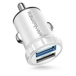 RAVPower Car Charger, Mini Dual USB Car Adapter with iSmart