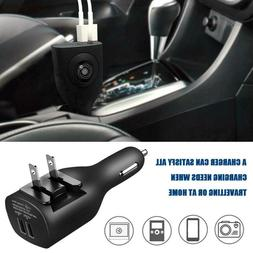 Car Wall Charger Dual USB Port 2-in-1 Travel Charging Adapte