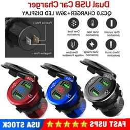 Dual QC 3.0 USB Ports Fast Car Charger Socket Outlet+LED For
