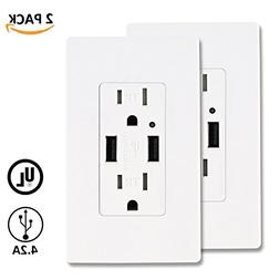 AbboTech 4.2AMP Dual High Speed USB Wall Outlet, USB Wall Ch
