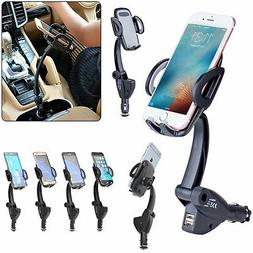 Dual USB Car Charger Holder Mount With Cigarette Lighter Cha