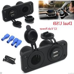 dual usb charger and socket panel mount