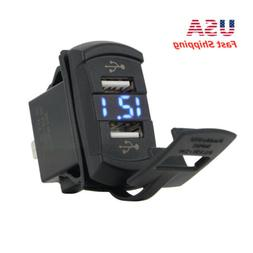 Dual USB Charger Blue LED Digital Volt Meter Waterproof for