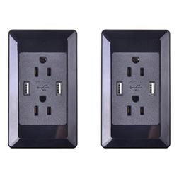 GREENCYCLE 2 PK Dual USB Port Black Electric Wall Charger Po