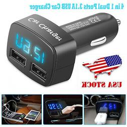 Dual USB Ports 3.1A Car Cigarette Lighter Charger 12V/24V Di