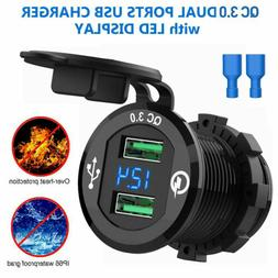 Dual USB QC 3.0 Fast Charger cigarette Socket Power For Car