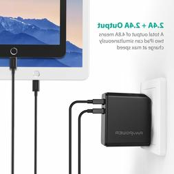 RAVPower Dual USB Wall Charger 24W 4.8A  with Foldable Plug
