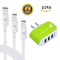 Extra Long iPhone Charger Cord - 3 USB Port AC Wall Travel P
