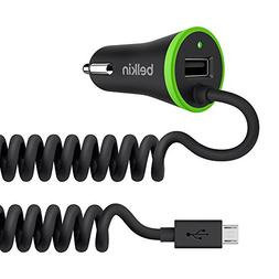 Belkin F8M890bt04-BLK Car Charger Coiled Micro USB Cable Bla