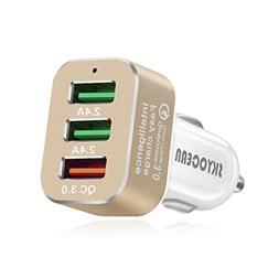 Fast Car Charger Adapter with Quick Charge 3.0 42W 3 Ports R