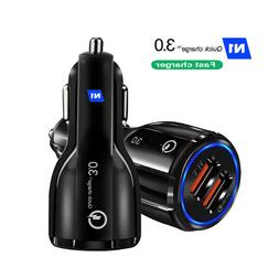 Fast Car Charger QC3.0 Certified Quick 2-USB Port Charge Dua
