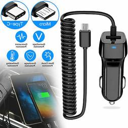 Fast Dual USB Car Charger Charge with Type-C/Micro USB Cable