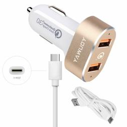 Fast QC 3.0 Quick Car Charger USB C Cable for Samsung Galaxy