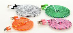 Flat Braided USB Micro Charger Cable Cord Sync For Android C