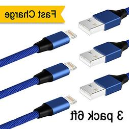 Iphone Cable Catosi 6ft 3pack 8pin Lightning Cable Nylon Bra