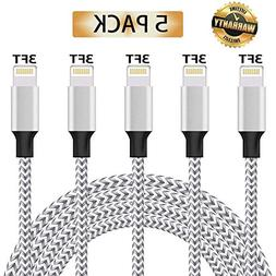 iPhone Charger, MFi Certified iPhone Cable 5 Pack  Nylon Bra