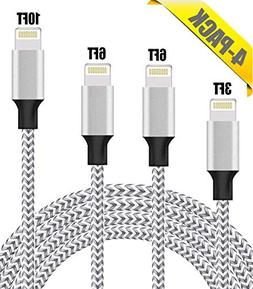 iPhone Charger, Lightning Cable, 4Pack 3FT 6FT 6FT 10FT to S
