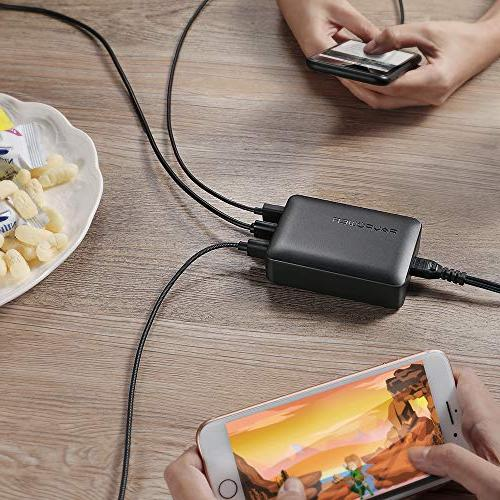 RAVPower 12A USB Charger Station with iSmart, with Max XR X 7 Plus, Pro Air Mini, S8 S6 Tablet and