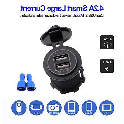 4.2A USB Cigarette Lighter Charger Power Adapter