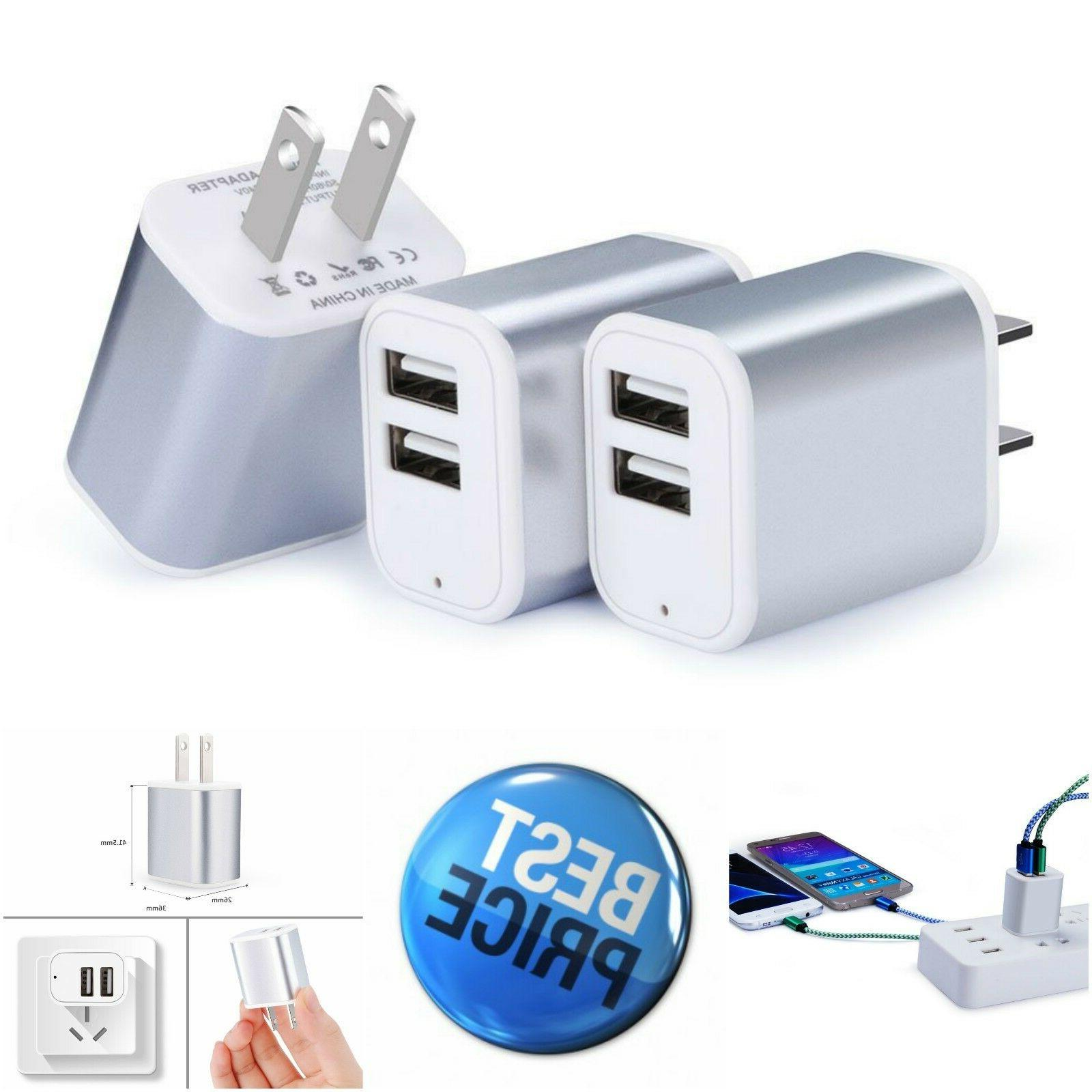3 Pack Wall Charger USB Plug Dual Port Charging Block Fast C
