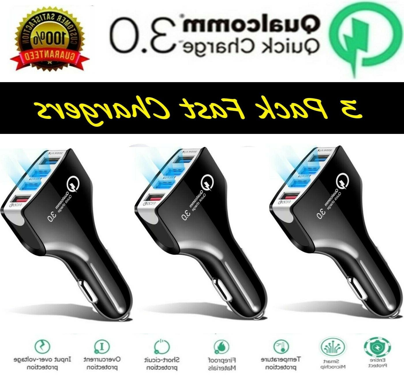 3 Pack 4 USB Port Fast QC 3.0 Car Charger for Samsung iPhone